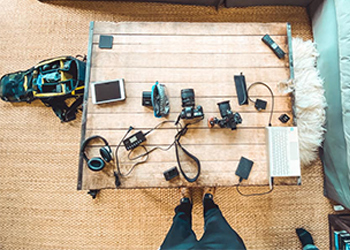 Dr. Jeff Langmaid Takes an Overhead Shot of All of His Preferred Recording Equipment